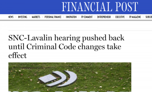 SNC Lavalin Hearing Pushed back